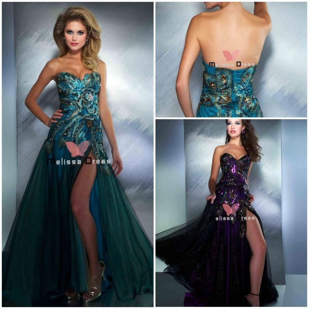 free shipping custom made sweetheart peacock feather evening gown ...