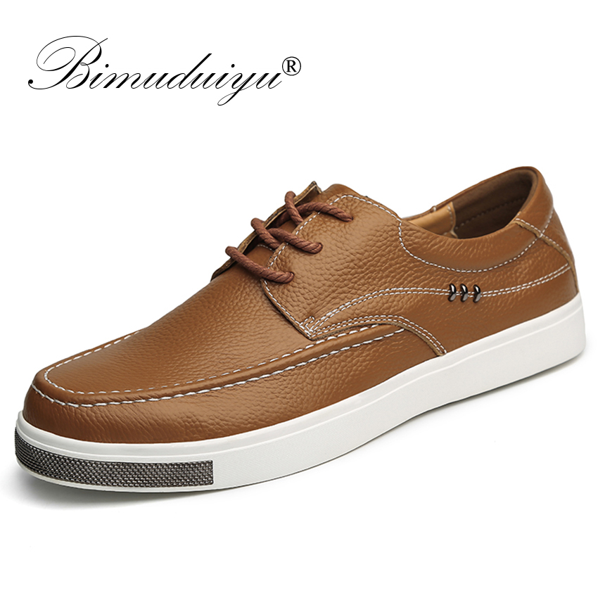 BIMUDUIYU Handmade Genuine Leather Casual Shoes Men Comfortable Shoes New Oxfords Shoes High Quality Designer Shoes