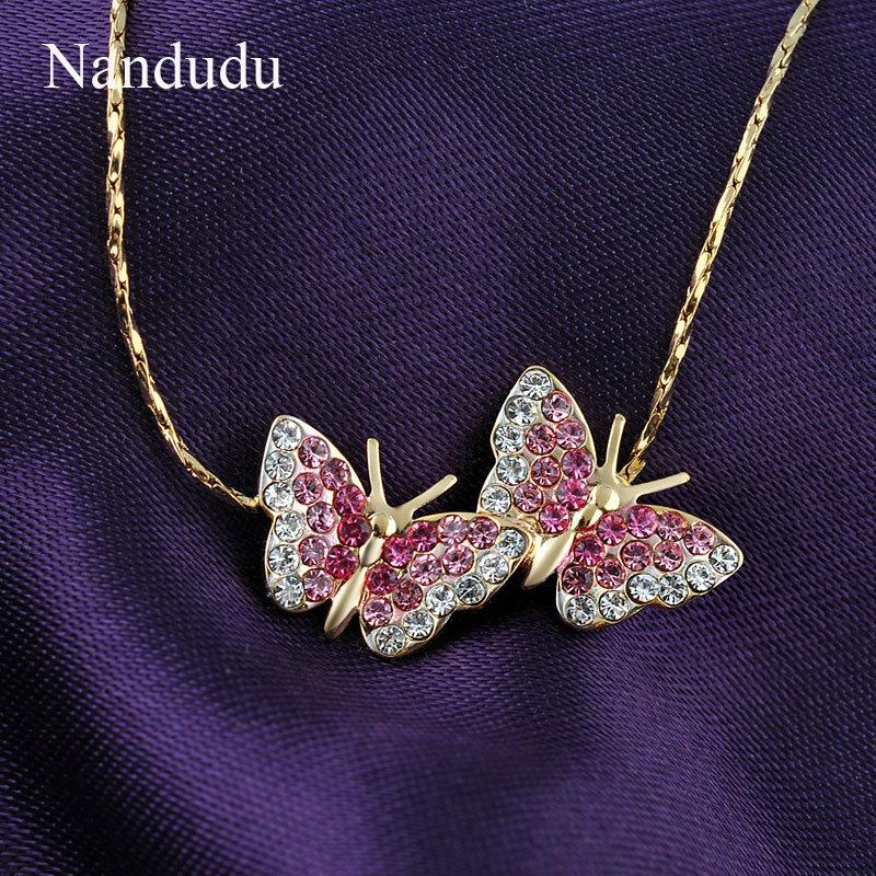 Nandudu Rose Gold Farbe Rosa Kristall Schmetterling Modeschmuck Set - Modeschmuck - Foto 2