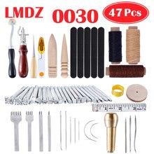 Lmdz leathercraft conjuntos de ferramentas costura mão costura couro artesanato ferramenta costura sela groover punch tools kit madeira metal