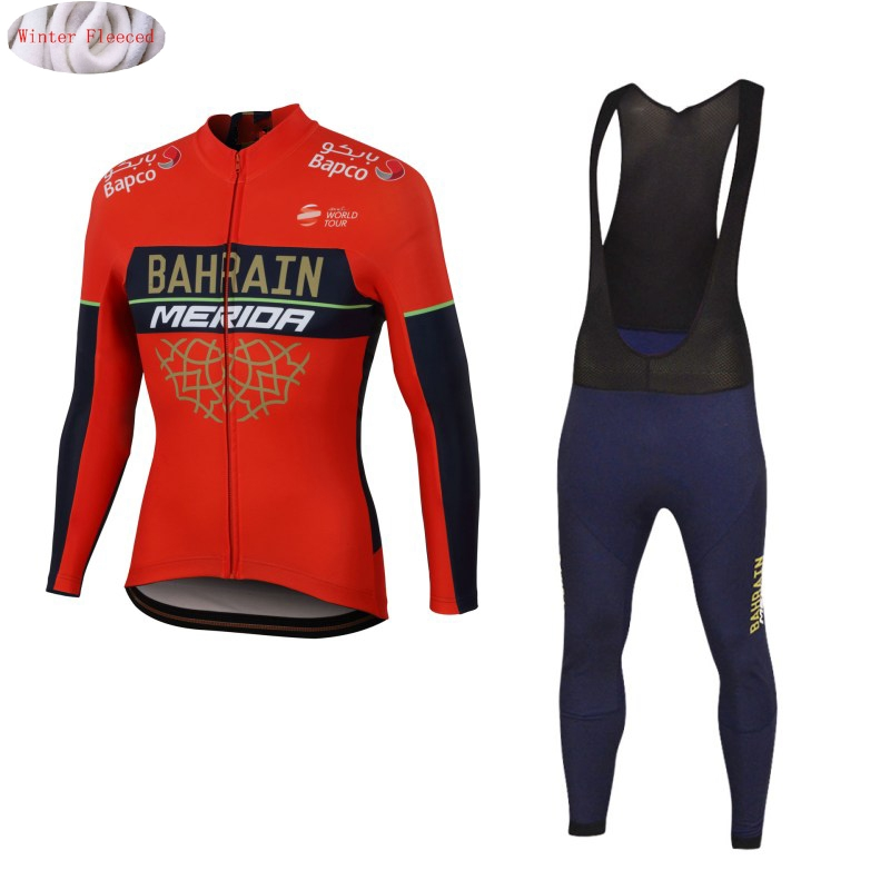 Bahrain Merida 2018 Winter Thermal Fleece Jerseys MTB Cycling Bib Pants Set Warm Jacket Clothes Road Bike Clothing Kit santic cycling pants road mountain bicycle bike pants men winter fleece warm bib pants long mtb trousers downhill clothing 2017