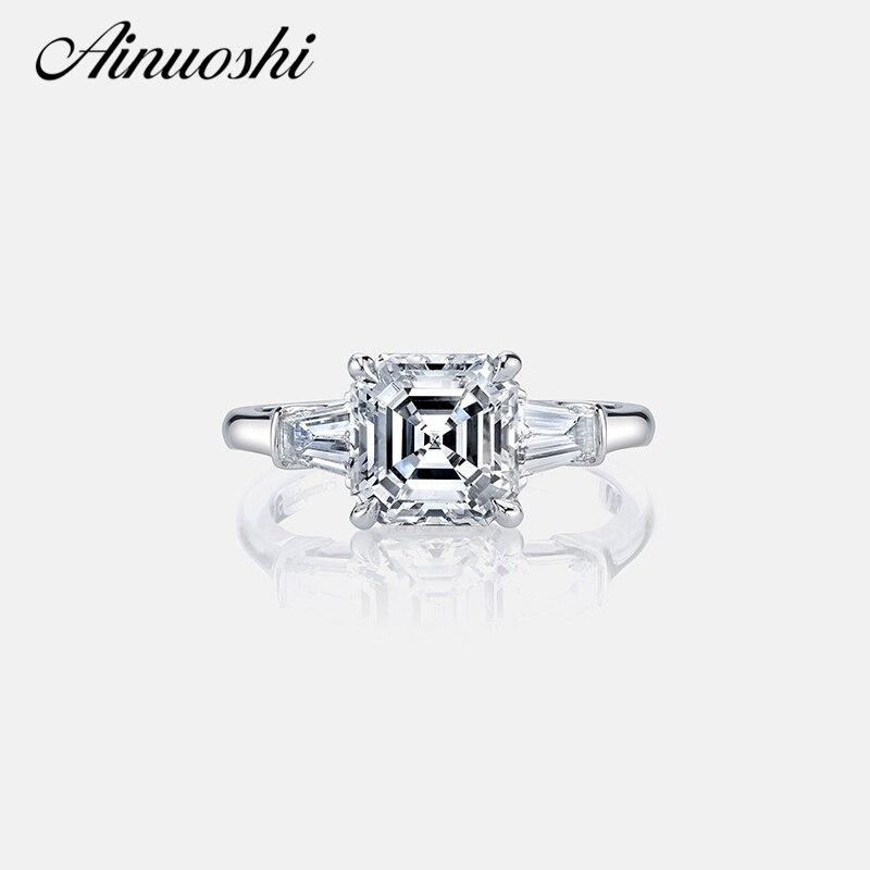 AINOUSHI Luxury 3 Carat Asscher Cut Sona Ring Engagement Wedding Band Ring Women 925 Sterling Silver Female Finger Ring