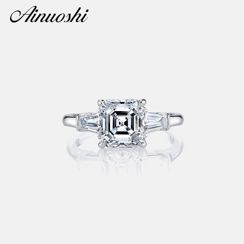 AINOUSHI Luxury 3 Carat Asscher Cut Sona Ring Engagement Wedding Band Ring Women 925 Sterling Silver Female Finger RingAINOUSHI Luxury 3 Carat Asscher Cut Sona Ring Engagement Wedding Band Ring Women 925 Sterling Silver Female Finger Ring
