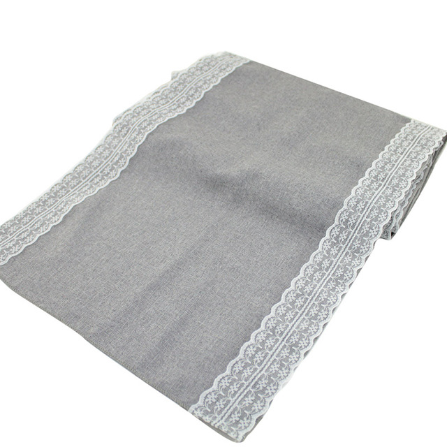 1pcs 30x275cm Gray Lace Table Runner Natural Jute Burlap Imitated Linen  Table Cloth Party Rustic Wedding