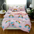Bedding Set Cartoon Duvet Cover Animal for Kids Girls 3/4pcs Rainbow Bedspreads BeddingOutlet Fashion New Printing Bed Linens