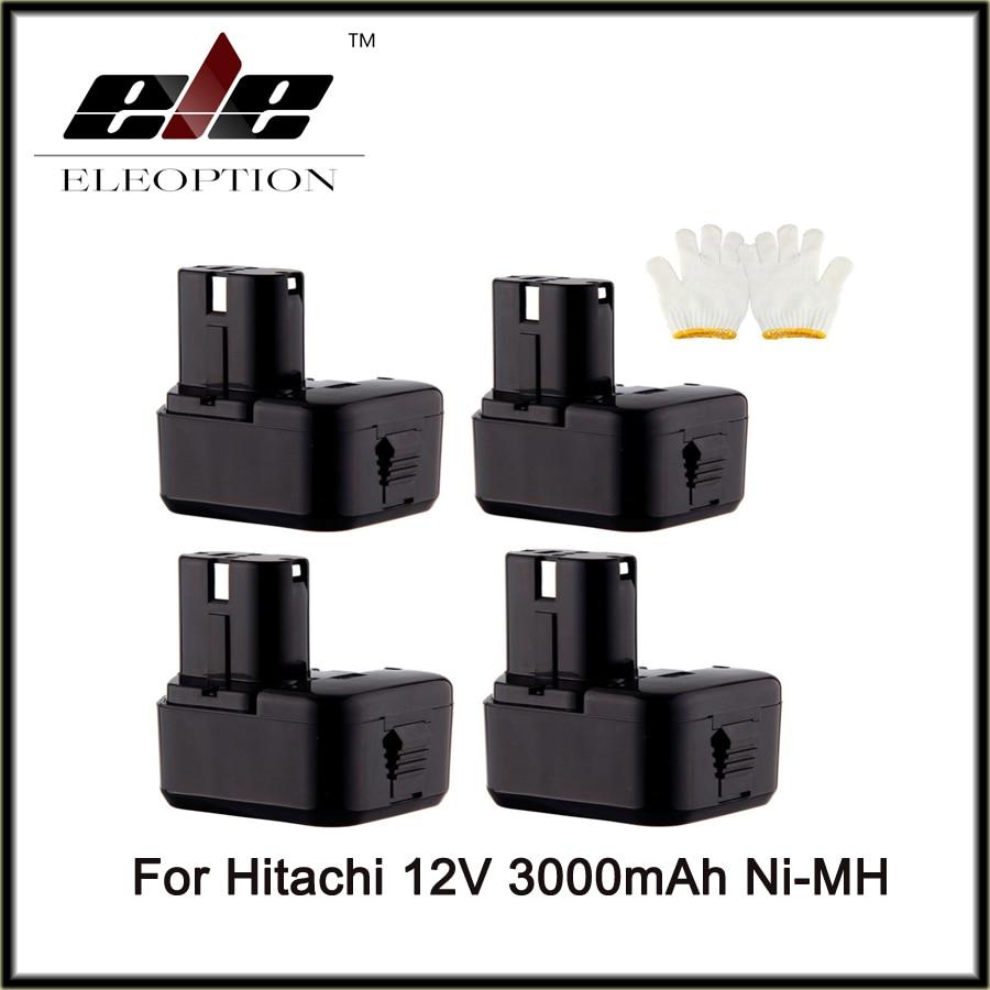 4 pcs Eleoption Cordless Drill Power Tool Replacement Battery for Hitachi EB1214L EB1212S EB1214S Battery 12V Ni-MH 3000mAh