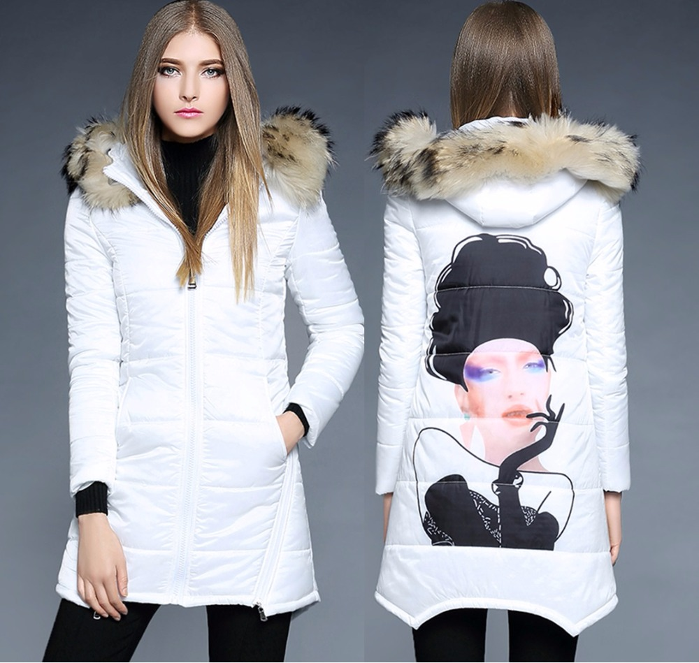ФОТО 2016 Europe and United States winter women coat long raccoon fur collar women's cotton-padded jacket 1873