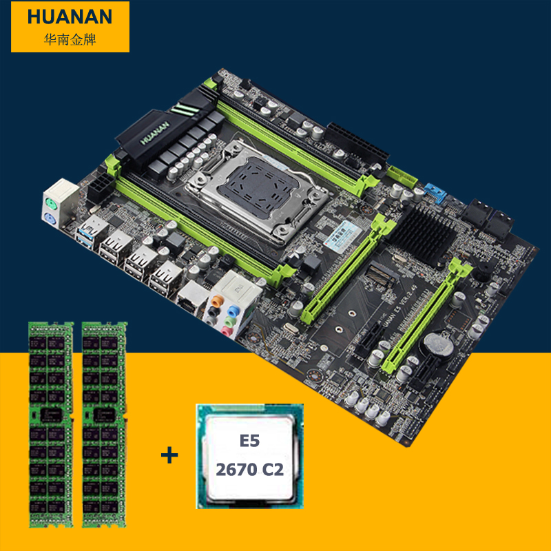 Full new HUANAN V2.49 X79 motherboard CPU RAM combos X79 LGA2011 motherboard Xeon E5 2670 C2 memory 8G DDR3 RECC all good tested