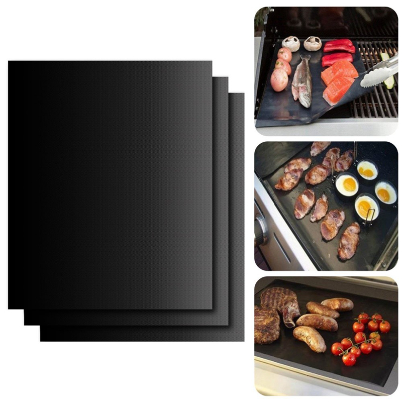 2pcs/lot 0.2mm Thick ptfe Barbecue Grill Mat 33*40cm non-stick Reusable baking BBQ Grill Mats Sheet Grill Foil BBQ Liner