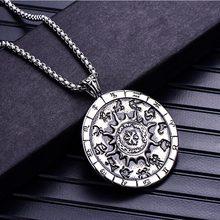 ZFVB 12 Zodiac Constellations Pendants Necklaces Men Stainless Steel Virgo Taurus Leo Gemini Pendant Jewelry
