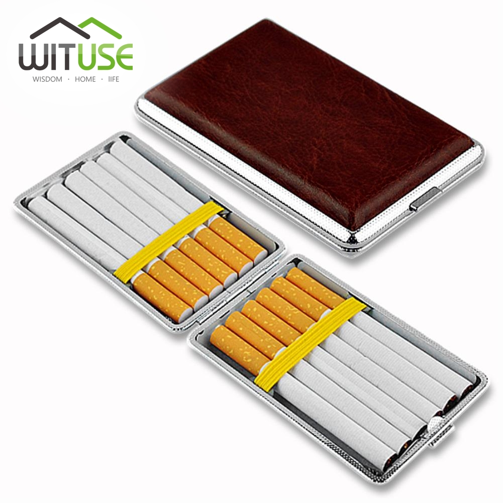 hold 12 14 16 18 20 Smoker Cigarette Case Box Classical Leather Metal cigarette box Smoking Tobacco case box for men's gift