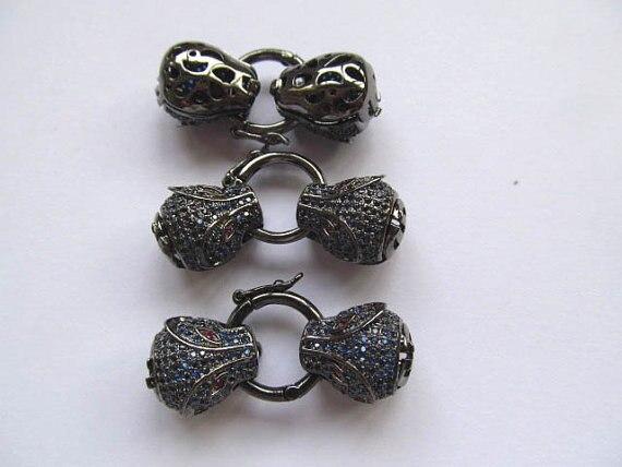 25-50mm 12 pièces AAA fermoir & Crochets Micro Pavé cubique zircone Assorties Léopard Tête Perles connecteur - 4