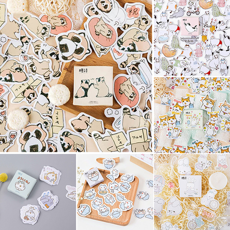 45pcs/box Chubby Cats Stickers Cute Animals Decorative Adhesive Stationery Stickers Decorations Scrapbooking School Supplies
