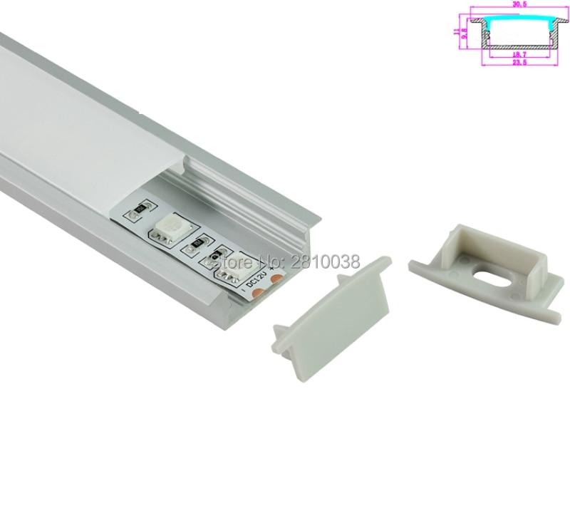 10 Set / Lotto Profilo in alluminio anodizzato argento LED quadrato - Illuminazione a LED