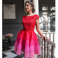 Red 2020 Elegant Cocktail Dresses A line Cap Sleeves Short Mini Tulle Lace Party Plus Size Homecoming Dresses