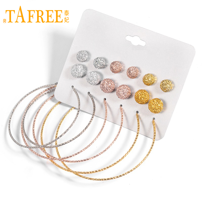 TAFREE Exaggerated Big Circle Earrings Gold/Rose Gold/Silver Alloy Crystal Ball Stud Earrings Sets Jewelry 9pairs/sets E0083 circle