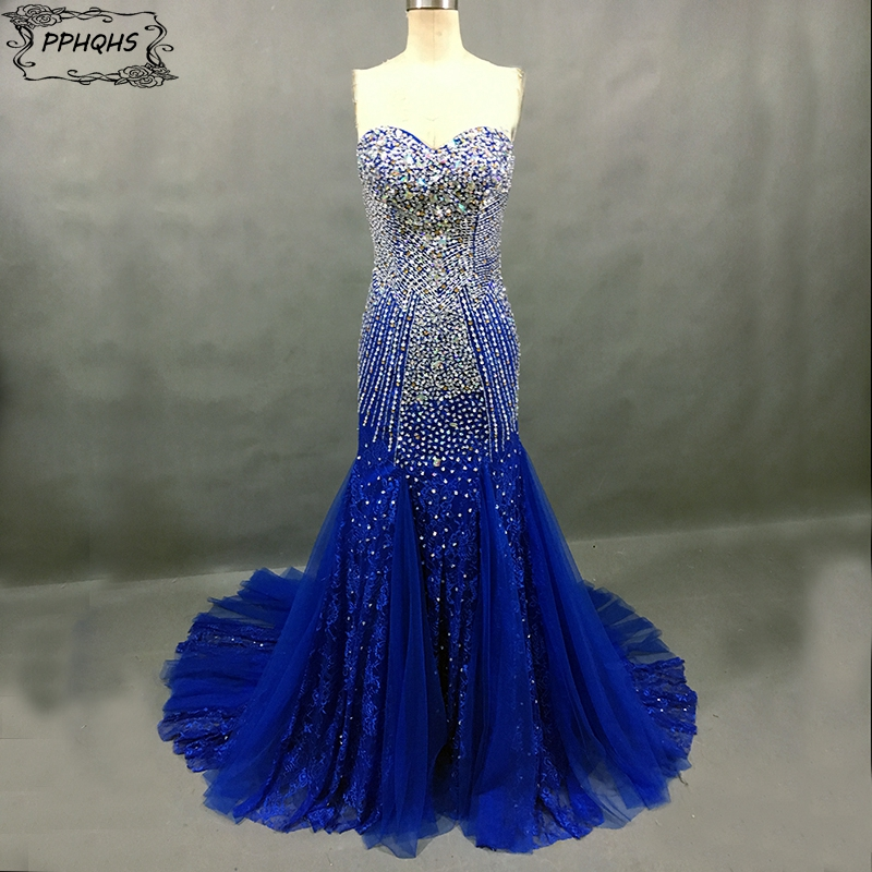 Fully Crystal Beaded Vintage Lace Sweetheart Royal Blue Mermaid Prom Dresses 2017 Prom Gown