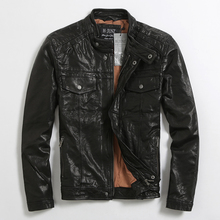 2017 Men Black Casual Genuine Leather Jacket Stand Collar Real high Quality Sheepskin Slim Fit Short Winter Coat FREE SHIPPING