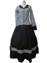 Japanese Anime Outfit Civil War Victorian Tartan Evening Gown Gray Dress H008
