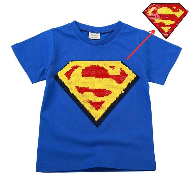 34d81f8b6 summer boys change face color magic discoloration T-shirts sequin superman  cartoon paillettes t shirt
