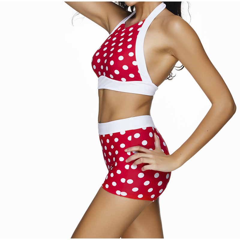 b0353acbde9 FS Red White Polka Dot Print Swimsuit High Waist Trunks Bikinis Set Biquini  Swimwear For Women Summer Bathing Suits 3XL-in Bikinis Set from Sports ...