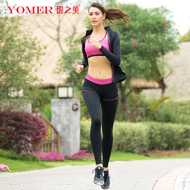 d0e14a9a47b05 YOMER Women Yoga Sets Breathable Sportswear Fitness Suits Sports Bra  Running Shirt Jacket Jogging Trainning Pants Shorts Spring