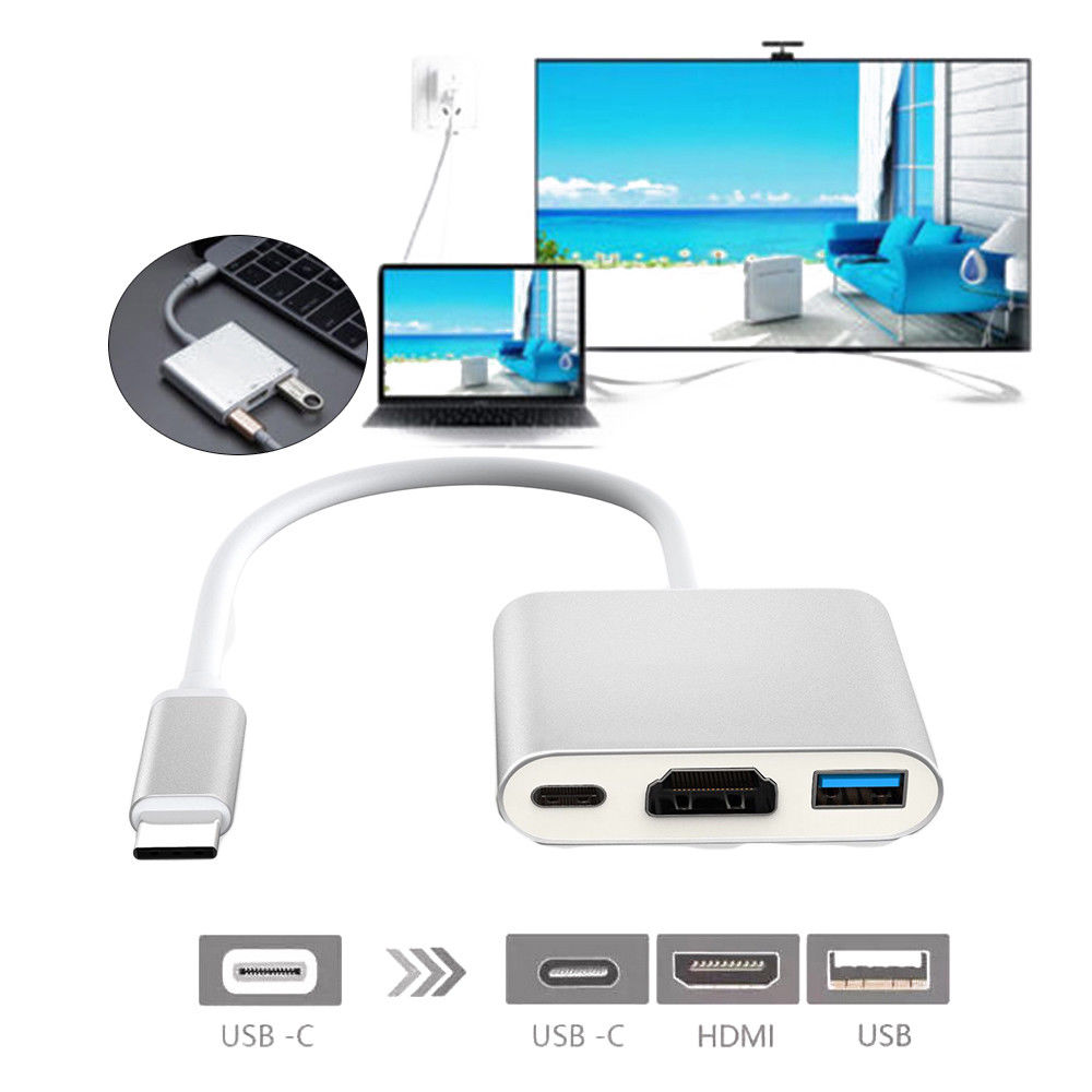 Tipo-c a 4 K HDMI USB 3.1 cable 3IN1 HD USB 3.0 Hub USB-C adaptador de puerto de carga