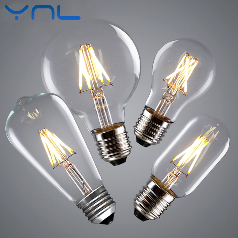 YNL Vintage LED Edison Bulb E27 E14 Real watt 2W 4W 6W 8W LED Filament Light Vintage LED Bulb Lamp 220V Retro Candle Light стоимость