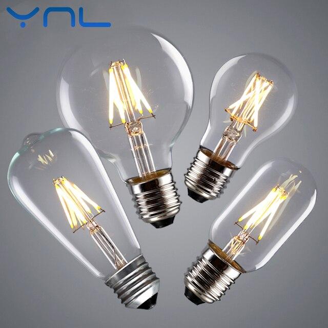 YNL Vintage LED Edison Bulb E27 E14 Real watt 2W 4W 6W 8W LED Filament Light Vintage LED Bulb Lamp 220V Retro Candle Light