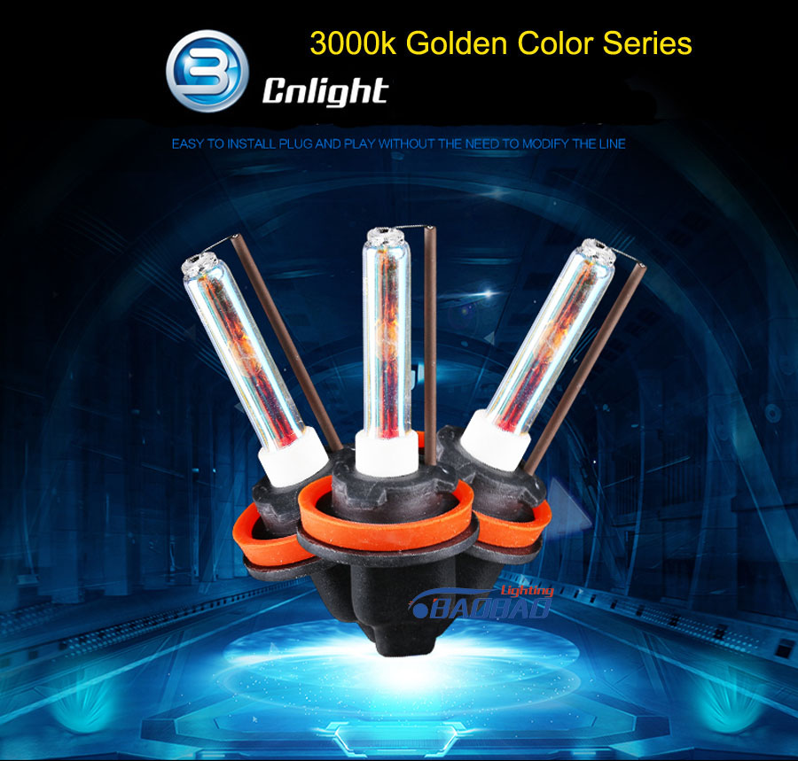 Top quality Cnlight 3000k car hid headlight bulb, 35W Golden Yellow Color Light Sourcing Hid Xenon Bulb H1 H3 H7 H11 9005 9006