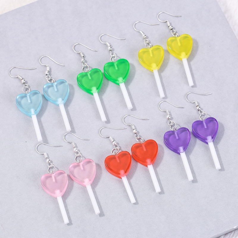 1pair Fashion Craft Resin candy Lollipop bff friendship Drop Earrings For Women Jewelry