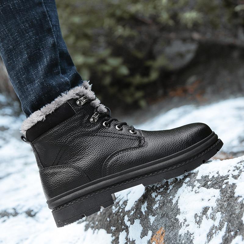 YIQITAZER 2018 Priroda vune tople zimske cipele Muške čizme, Geniune kožne cipele Muške cipele za snijeg Muške cipele sa srednjim tele plus Plus 46