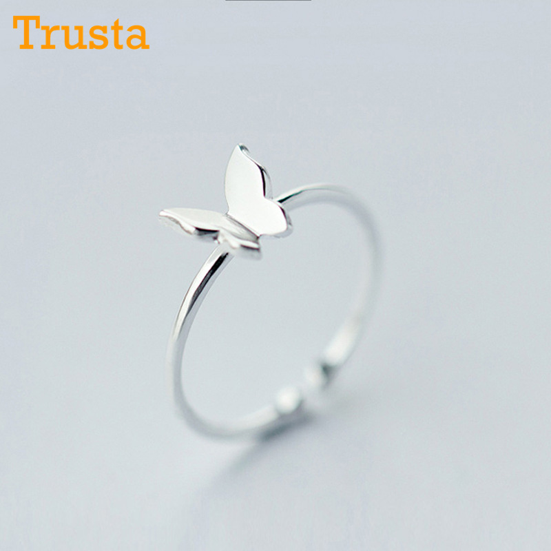 Trusta 100% 925 S Sterling Silver Fashion Jewelry Butterfly Cocktail Ring Sizable 5 6 7 Girls Kids Xmas Gift Drop Shipping DS178 mariposa en plata anillo
