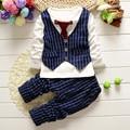2016 Autumn new style newborn baby gentlemen boy 2pcs/set clothing set long sleeve shirt+ pants quality baby clothes