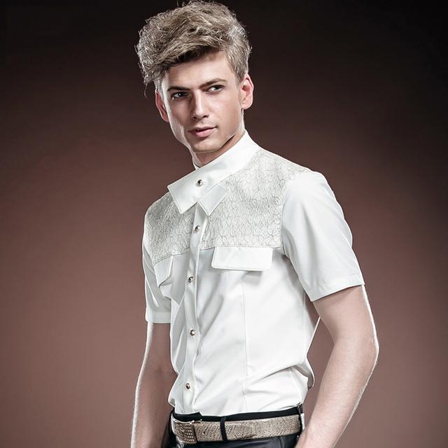Frete Grátis Nova moda casual masculino homens casual Verão Tribunal vestido de casamento branco puro camisa verão 14317 À Venda