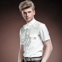 Vận Chuyển miễn Phí New thời trang giản dị nam giới bình thường của Tòa Summer mùa hè cưới tinh khiết white dress shirt 14317 On Sale