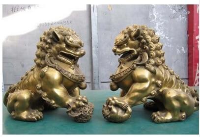11 puro chino tallado Evil puerta Fu Foo perro par медное украшение, бронзовая Заводская Чистая латунная