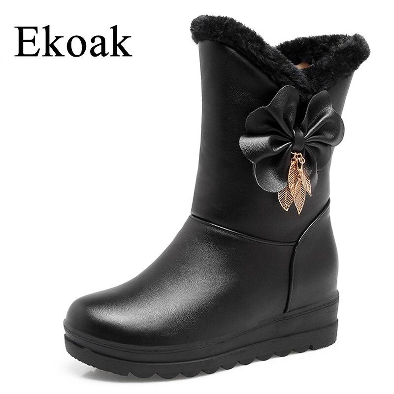 Ekoak New 2018 Fashion Women Shoes Snow Boots Warm Plush Winter Boots Ladies Wedges Platform Ankle Boots Shoes Woman ekoak new 2017 winter boots fashion women boots warm plush mid calf boots ladies platform shoes woman rubber leather snow boots