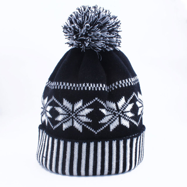 1b78d8da710 Snowflake Pom Pom Beanie Winter Knit Hat for Men Womens Black and White  Striped Cuff Ski