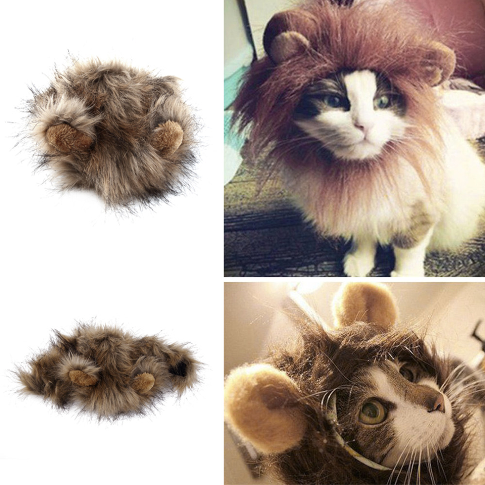 2017 funny cute pet cat costume cosplay lion mane wig cap hat for cat halloween xmas clothes fancy dress with ears autumn winter - Funny Cat Halloween