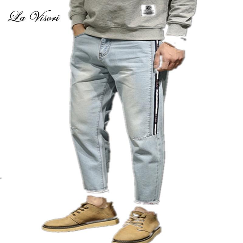 Summer Mens Jeans Cowboy Slim Bound Feet Ankle-length Pants Vintage Acid Washed Faded Multi-Pockets Biker Short Jeans plus size