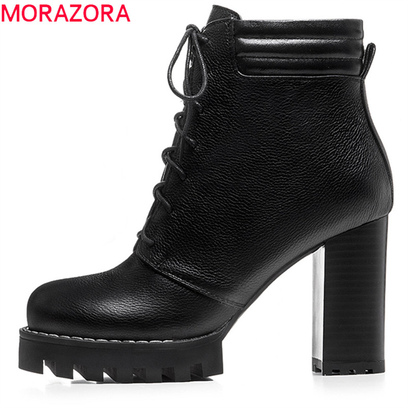 MORAZORA 2018 plus size 35-41 pointed toe boots women lace up genuine leather ankle boots autumn platform high heels shoes black цены онлайн