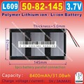 [L609] 3.7V 8400mAh [5082145] PLIB; polymer lithium ion / Li-ion battery for GPS,mp3,mp4,cell phone;tablet oc;power bank
