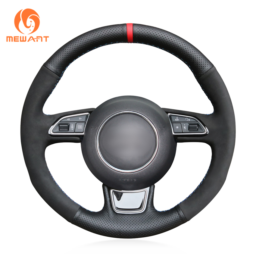 MEWANT Black Genuine Leather Hand Sew Wrap Car Steering Wheel Cover for Audi A3 A4 A5