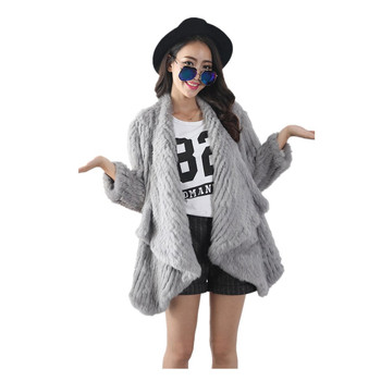 Knitted Rabbit Fur Coat Knitted Rabbit Jacket Turn Down Collar Winter Coat Sweater Plus Size Coat Clothes