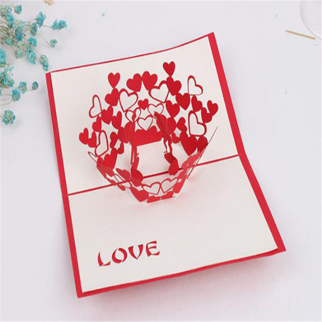 Greeting Cards Thank You Card Handmade Pop Up Heart Shape Paper Cut Valentines Mother S Day