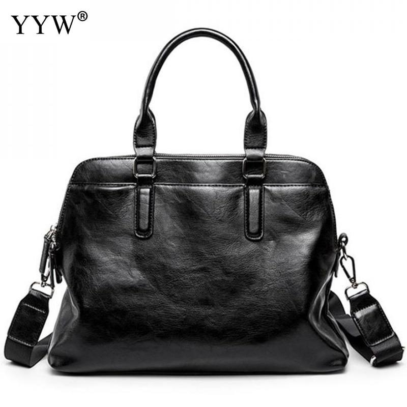 Tote Bags For Men Black PU Leather Handbag Men's Executive Briefcase Business Male Bag Portfolio A Case For Documents