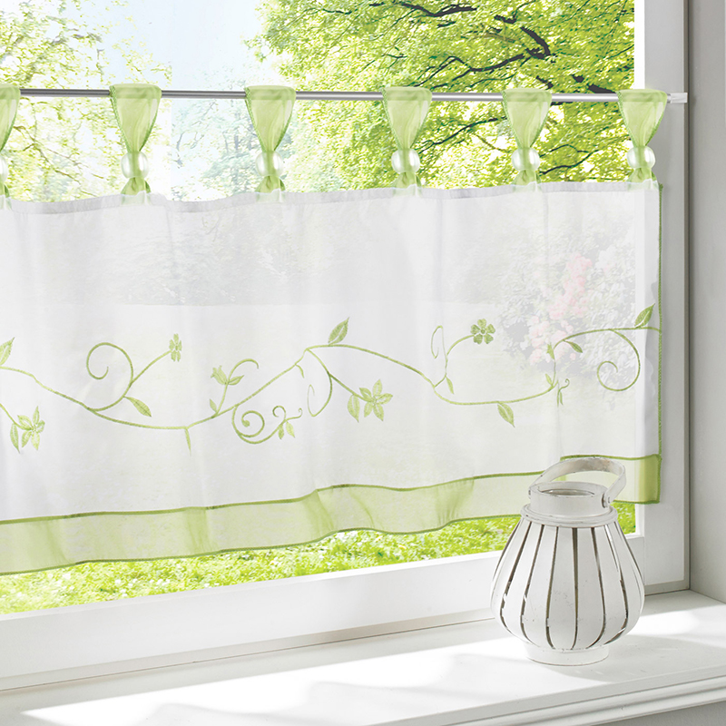 Urijk 1PC Small Half Curtains Pastoral Style Fashion Cafe Embroidered Tull  Curtains For The Kitchen Window