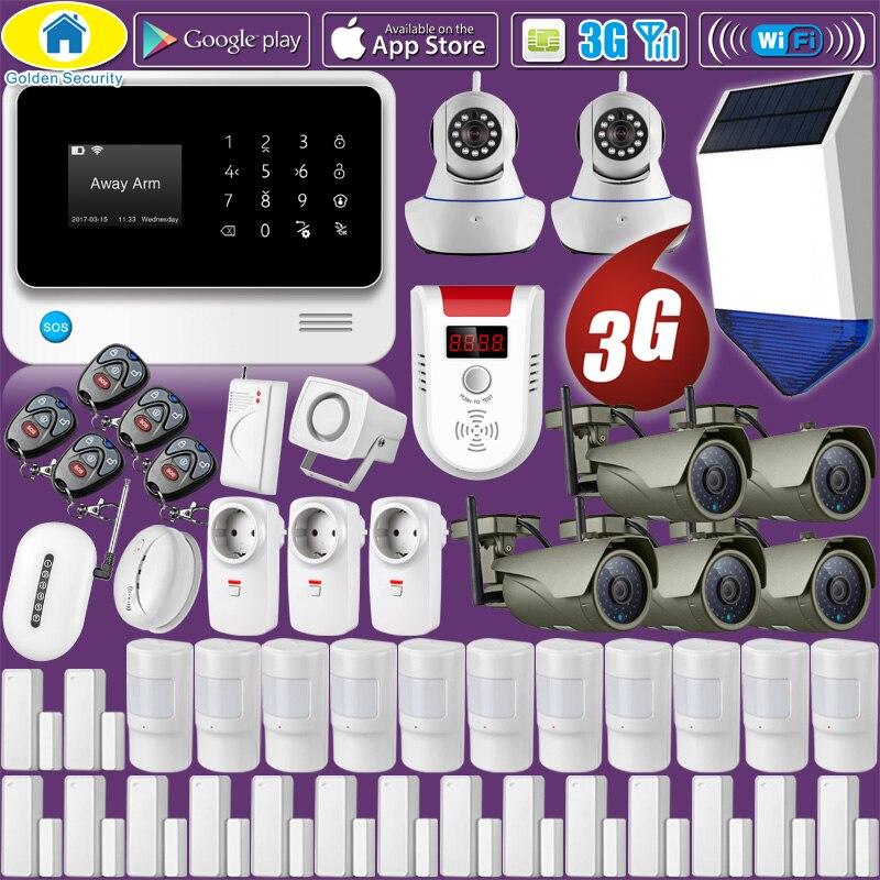 G90B Plus + 3G GSM WIFI APP contrôle sécurité à domicile système d'alarme anti-intrusion alarme incendie, 1080 P WiFi caméra extérieure