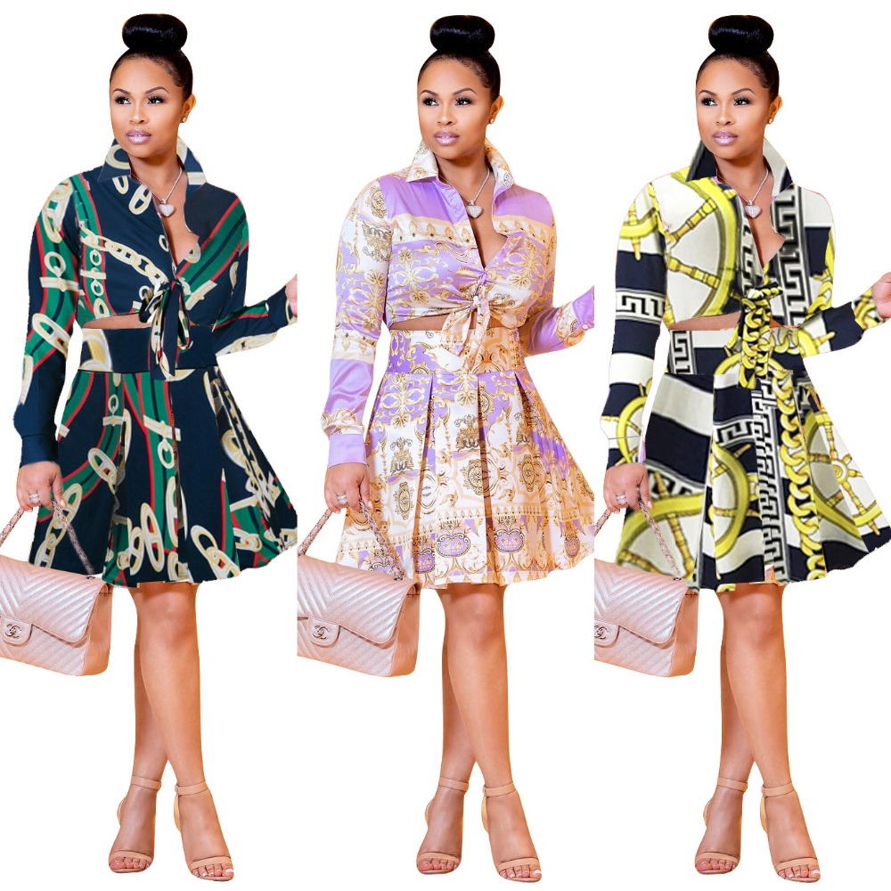 100% Quality Printed Pleated Skirt Women Set Chain Digital Print Bandage Crop Top With Skirt Two Piece Set Elegant Vintage Party Set Women Wide Selection;
